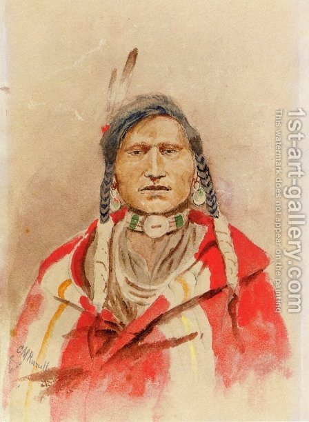 Portrait of an Indian by Charles Marion Russell - Reproduction Oil Painting