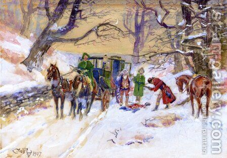 Holdup on the Boston Road by Charles Marion Russell - Reproduction Oil Painting