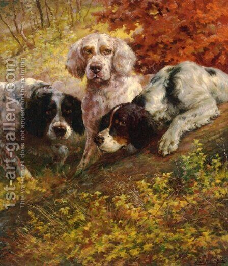 Three Setters on the Scent by Edmund Henry Osthaus - Reproduction Oil Painting