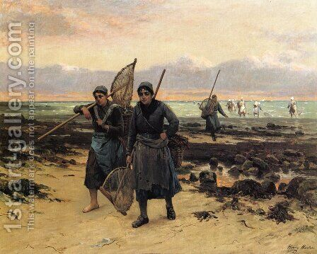 Return of the Shrimp Fishers by Henry Mosler - Reproduction Oil Painting