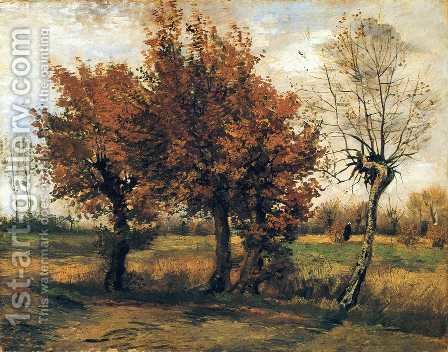 Autumn Landscape with Four Trees by Vincent Van Gogh - Reproduction Oil Painting