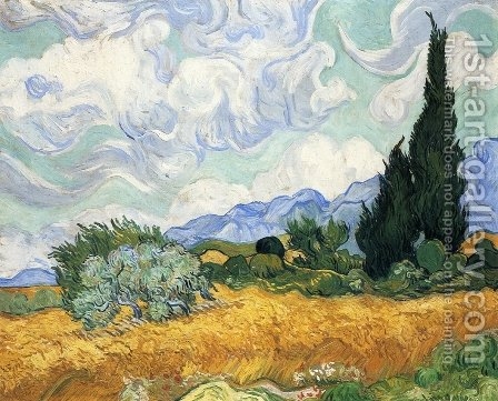 Wheatfield with Cypress I by Vincent Van Gogh - Reproduction Oil Painting