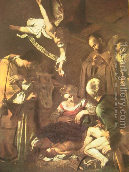 Nativity with Saints Francis and Lawrence by Caravaggio - Reproduction Oil Painting