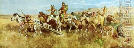 Indian Women Moving Camp I by Charles Marion Russell - Reproduction Oil Painting