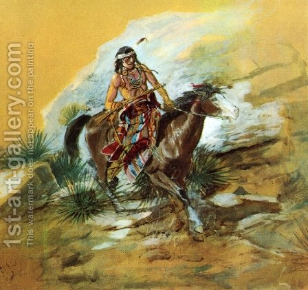 The Crow Scout by Charles Marion Russell - Reproduction Oil Painting