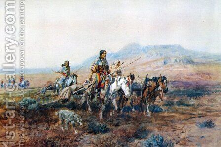 When the Trail Was Long Between Camps by Charles Marion Russell - Reproduction Oil Painting