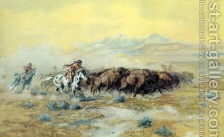 The Buffalo Hunt by Charles Marion Russell - Reproduction Oil Painting