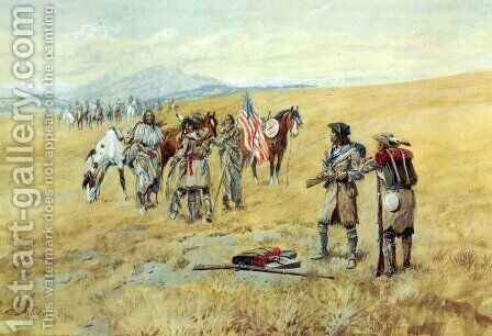 Captain Lewis Meeting the Shoshones I by Charles Marion Russell - Reproduction Oil Painting