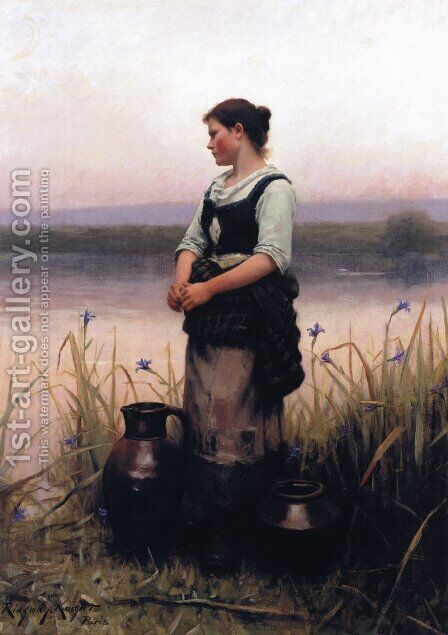 Far Away Thoughts by Daniel Ridgway Knight - Reproduction Oil Painting