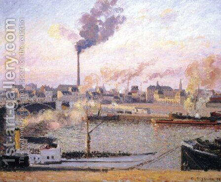Saint Sever, Rouen, Morning, Five O'Clock by Camille Pissarro - Reproduction Oil Painting