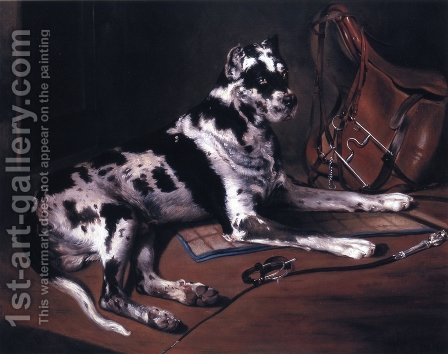 Recumbant Great Dane by Bernard de Gempt - Reproduction Oil Painting