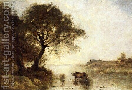 A Ford with Large Trees by Jean-Baptiste-Camille Corot - Reproduction Oil Painting
