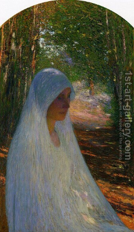 Young Woman Veiled in White in a Forest by Henri Martin - Reproduction Oil Painting