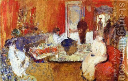 In the Red Room by Edouard  (Jean-Edouard) Vuillard - Reproduction Oil Painting