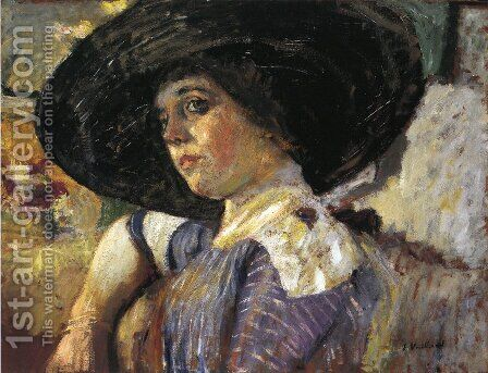 Woman with Hat by Edouard  (Jean-Edouard) Vuillard - Reproduction Oil Painting