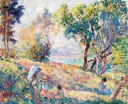 Girls in a Landscape near St. Tropez by Henri Lebasque - Reproduction Oil Painting