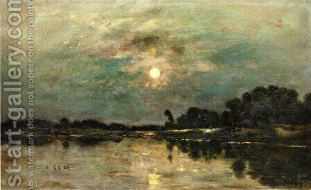 Riverbank in Moonlight by Charles-Francois Daubigny - Reproduction Oil Painting