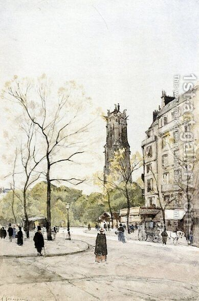 View of the Avenue Victoria by Henri Joseph Harpignies - Reproduction Oil Painting