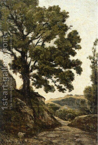 A Large Tree - Path in the Countryside by Henri Joseph Harpignies - Reproduction Oil Painting