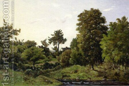 Landscape near St. Prive by Henri Joseph Harpignies - Reproduction Oil Painting