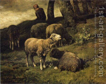 Grazing Sheep with a Sheperdhess Beyond by Charles Émile Jacque - Reproduction Oil Painting