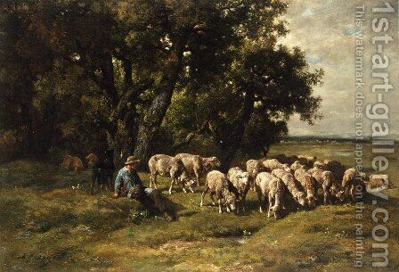 A Shepherd with His Flock by Charles Émile Jacque - Reproduction Oil Painting