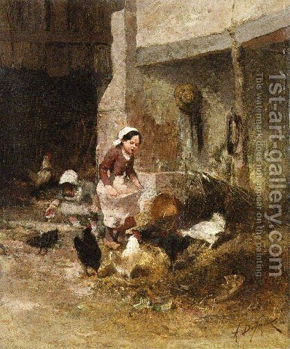 Feeding the Chickens by Alexandre Defaux - Reproduction Oil Painting