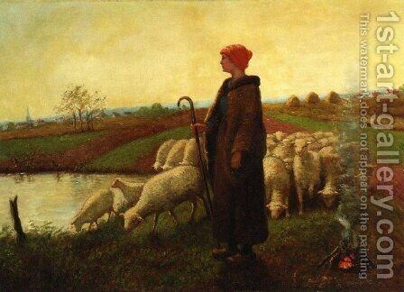 A Shepherdess with her Flock by Aime Perret - Reproduction Oil Painting