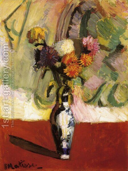 Chrysanthemums in a Chinese Vase by Henri Matisse - Reproduction Oil Painting