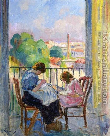 Girl Sewing at the Window by Henri Lebasque - Reproduction Oil Painting