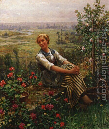 Woman at Rest by Daniel Ridgway Knight - Reproduction Oil Painting
