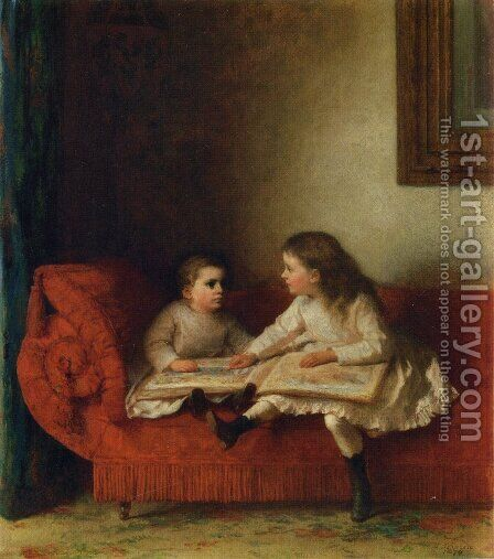 The Lesson by Eastman Johnson - Reproduction Oil Painting