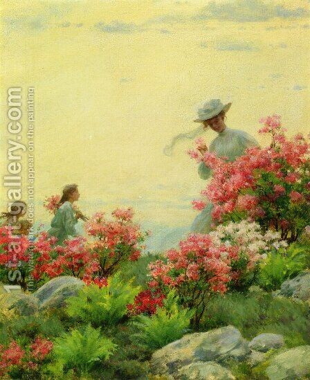 Among the Wild Azaleas by Charles Curran - Reproduction Oil Painting