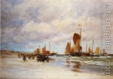 Welcoming the Fishing Vessels Home by Charles Paul Gruppe - Reproduction Oil Painting