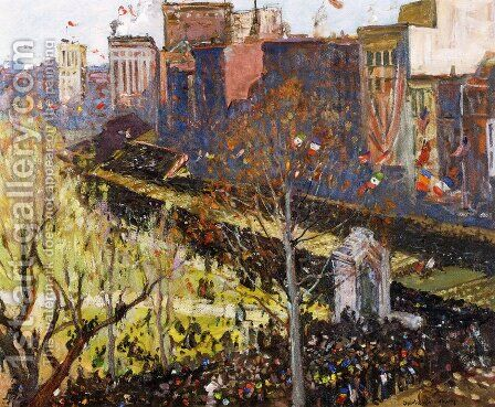 Victory Parade, Boston, April 25, 1919 by Charles Herbert Woodbury - Reproduction Oil Painting