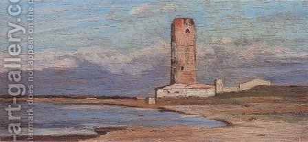 La torre rossa by Giovanni Fattori - Reproduction Oil Painting