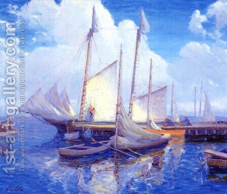 Wharf, Leonardtown, Maryland by Auguste Rolle - Reproduction Oil Painting
