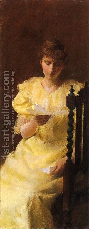 Lady in Yellow by Charles Curran - Reproduction Oil Painting