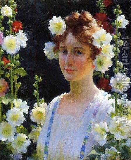Among the Hollyhocks by Charles Curran - Reproduction Oil Painting