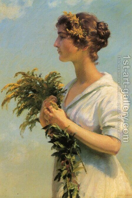 Girl with Goldenrod by Charles Curran - Reproduction Oil Painting