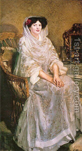 Portrait of the Artist's Wife by Armando Spadini - Reproduction Oil Painting