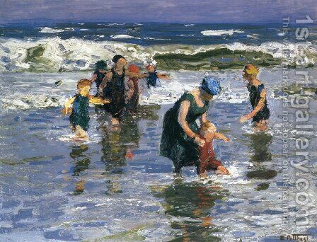 In the Surf II by Edward Henry Potthast - Reproduction Oil Painting
