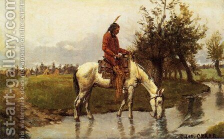 At the Watering Hole by Charles Craig - Reproduction Oil Painting