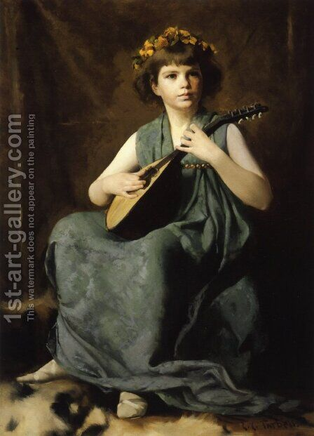 Marion Hiller Fenno at Nine as Mandolinata by Edmund Charles Tarbell - Reproduction Oil Painting