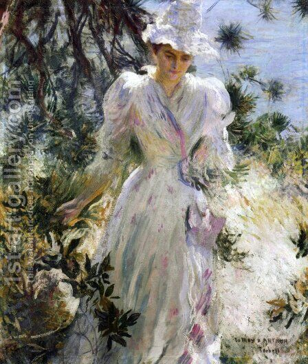 My Wife, Emeline, in a Garden by Edmund Charles Tarbell - Reproduction Oil Painting