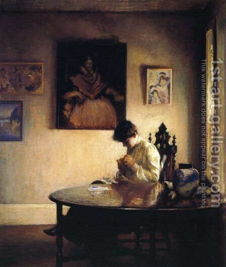 A Girl Crocheting by Edmund Charles Tarbell - Reproduction Oil Painting