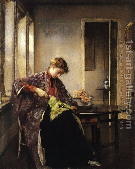 Girl Mending by Edmund Charles Tarbell - Reproduction Oil Painting
