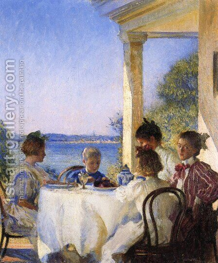 Breakfast on the Piazza by Edmund Charles Tarbell - Reproduction Oil Painting