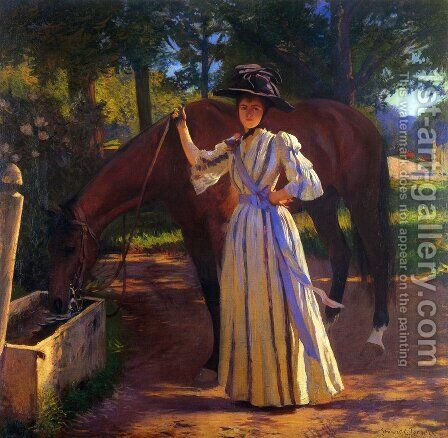 Girl and Horse by Edmund Charles Tarbell - Reproduction Oil Painting