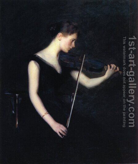 Girl with Violin by Edmund Charles Tarbell - Reproduction Oil Painting